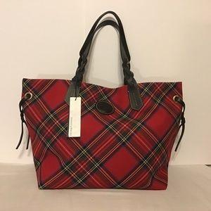 DOONEY & BOURKE Shopper Tote Bag Tartan Plain Red
